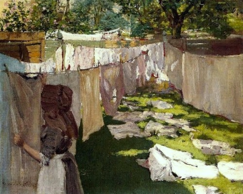 l1 William Merritt Chase (1849-1916) Wash Day Back Yard Reminiscence of Brooklyn 1886