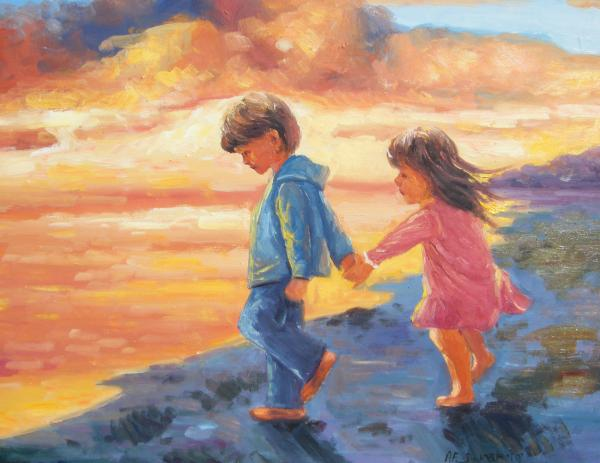 children-at-sunset-imagine-art-works-studio