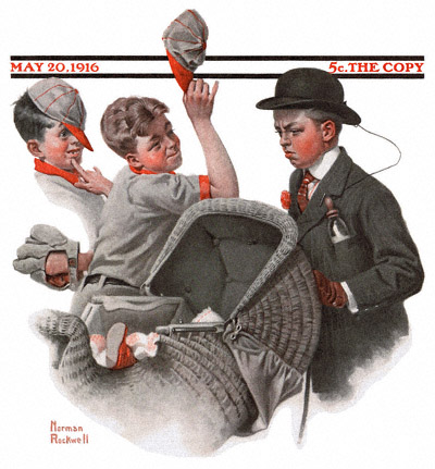 1916-05-20-Saturday-Evening-Post-Norman-Rockwell-cover-Boy-With-Baby-Carriage-no-logo-400-Digimarc
