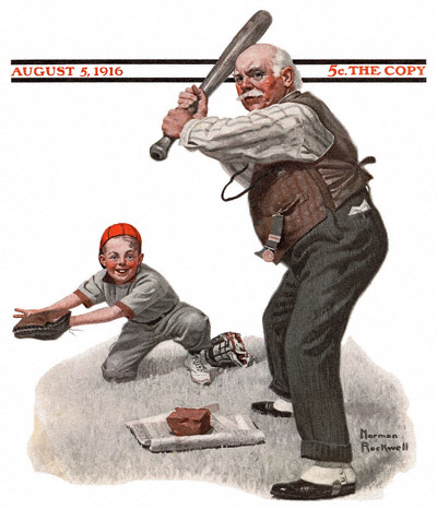 1916-08-05-Saturday-Evening-Post-Norman-Rockwell-cover-Gramps-At-The-Plate-no-logo-400-Digimarc