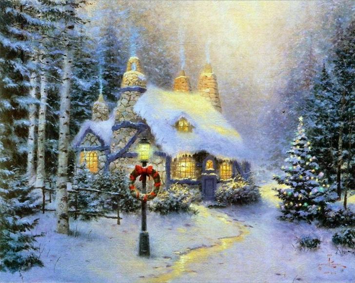 winter christmas thomas kinkade cottage 1280x1024 wallpaper_www.wallpaperfo.com_82